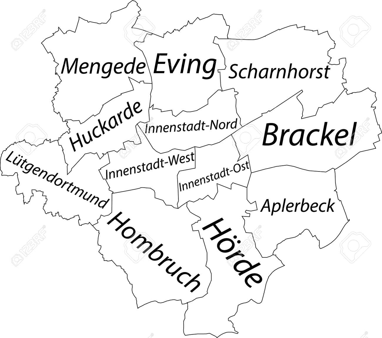Simple white vector map with black borders and names of districts of Dortmund, Germany - 169986370