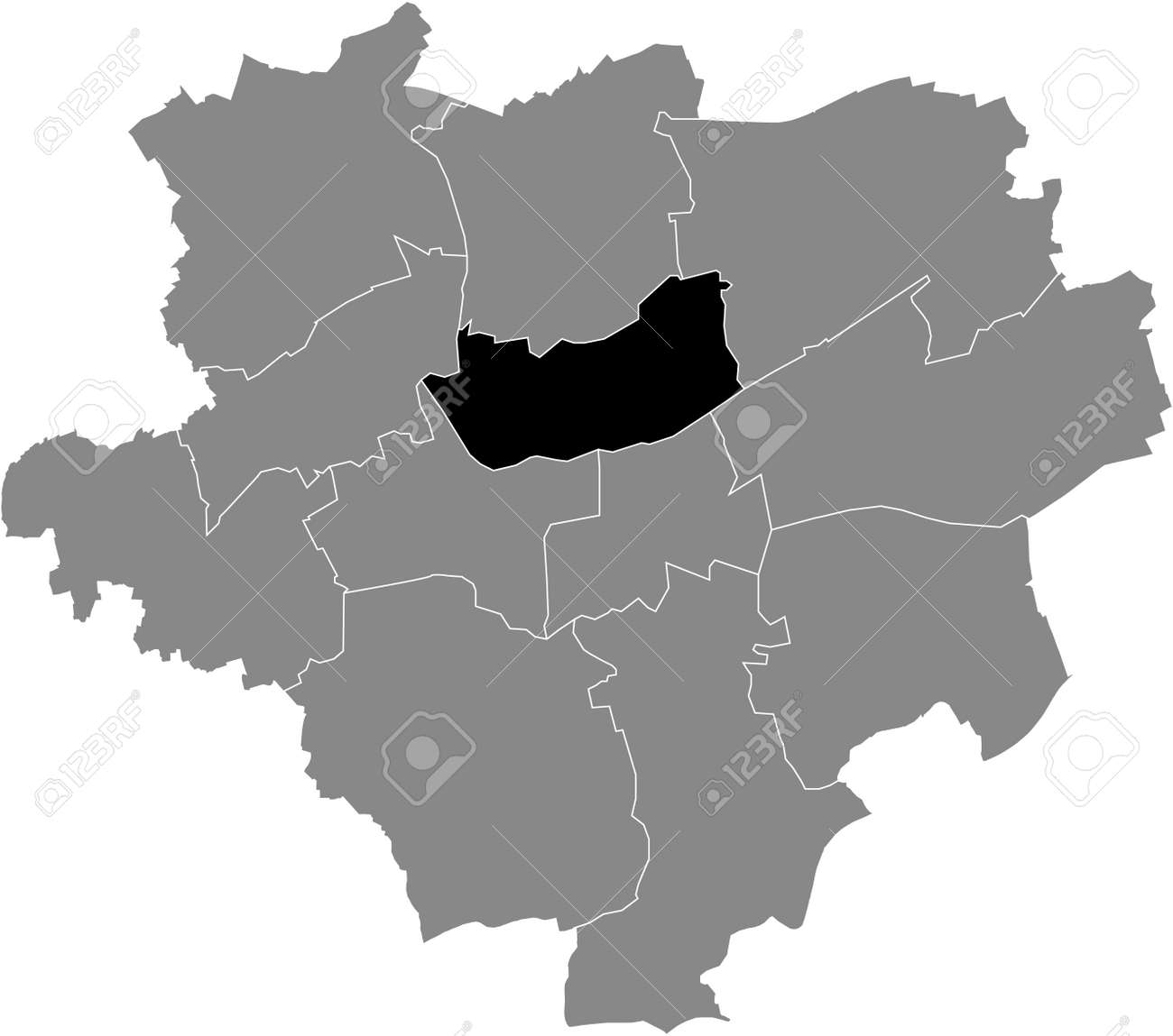Black location map of the Dortmunder Stadtbezirk Innenstadt-Nord district inside the German regional capital city of Dortmund, Germany - 169986373