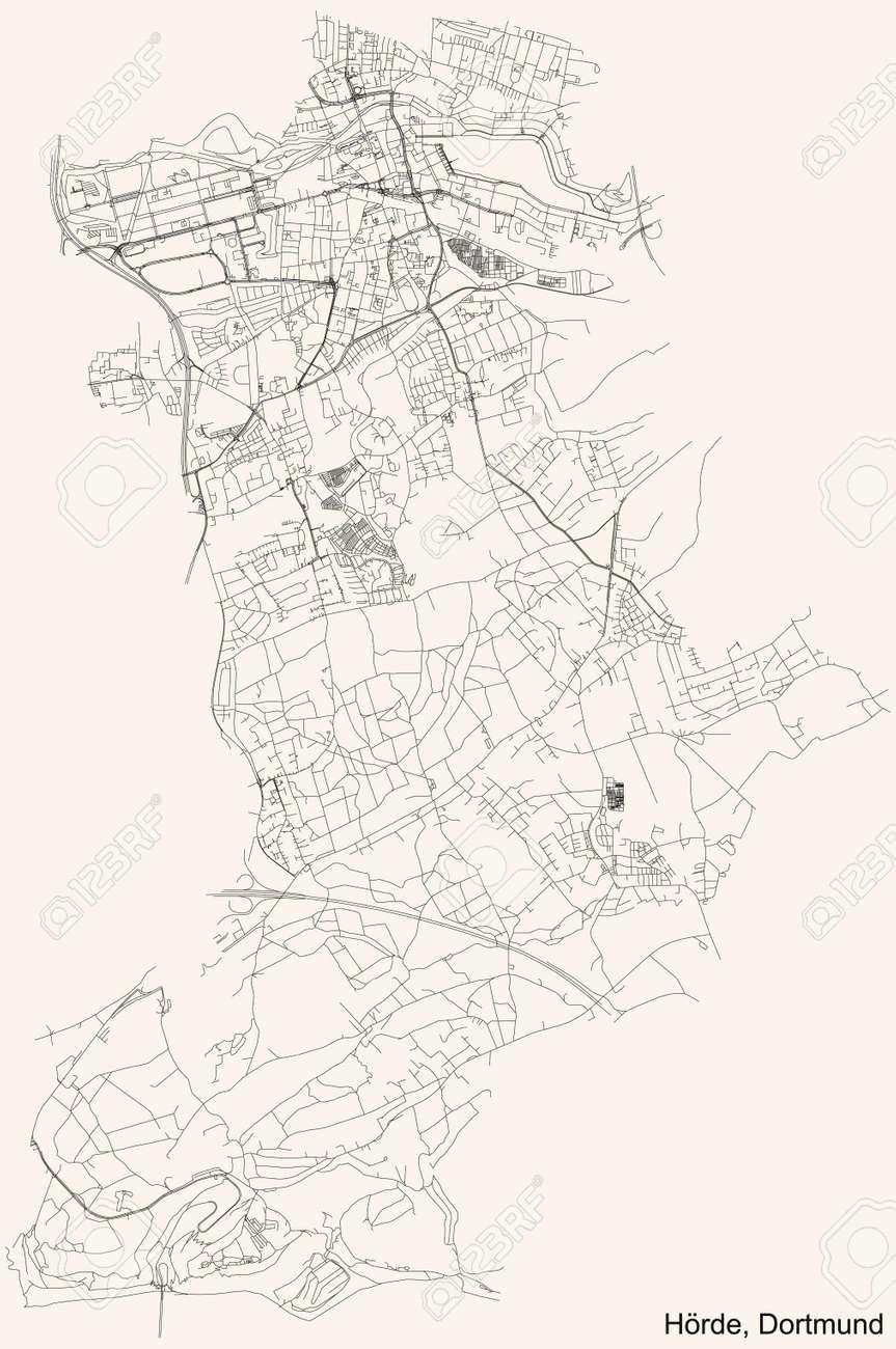 Black simple detailed street roads map on vintage beige background of the quarter Stadtbezirk Hörde district of Dortmund, Germany - 169986377