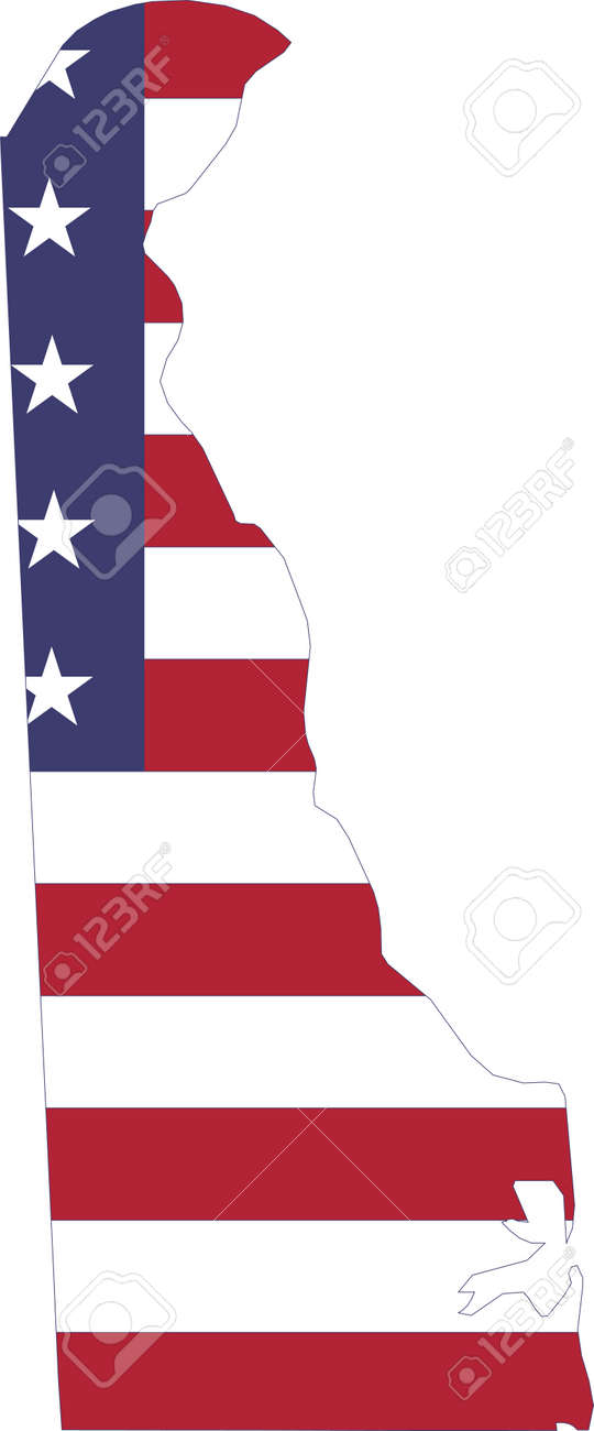 Simple flat US flag map of the Federal State of Delaware, USA - 169988453