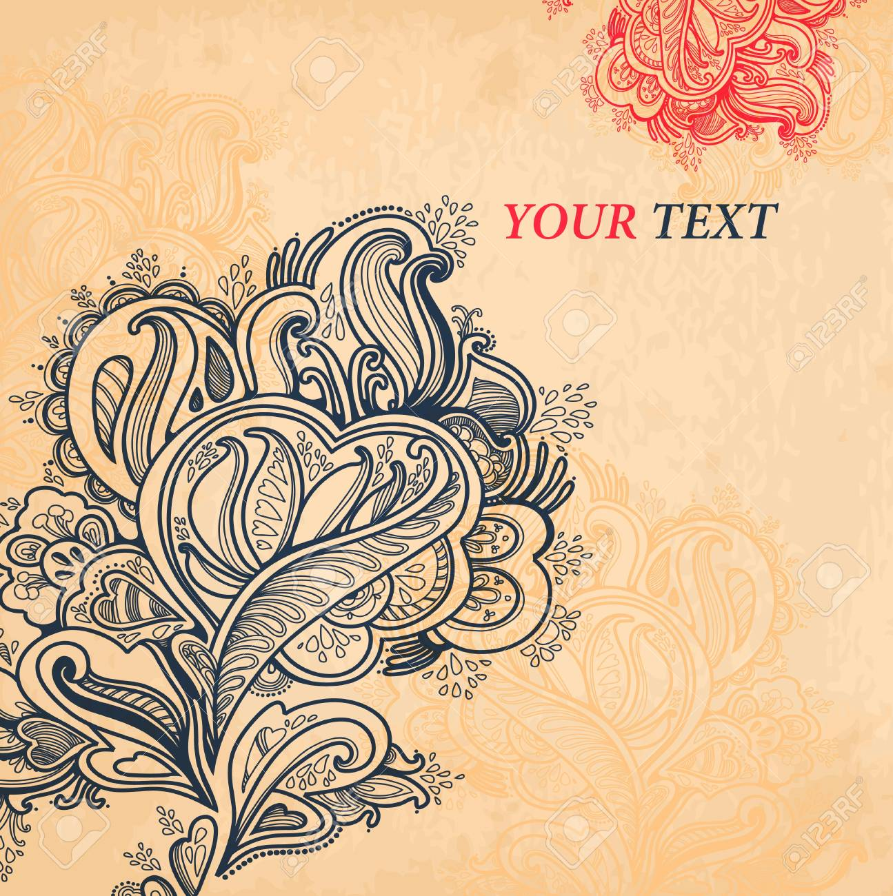 Abstract floral ornament with many details  Excellent background for your greeting card Stock Vector - 18487411