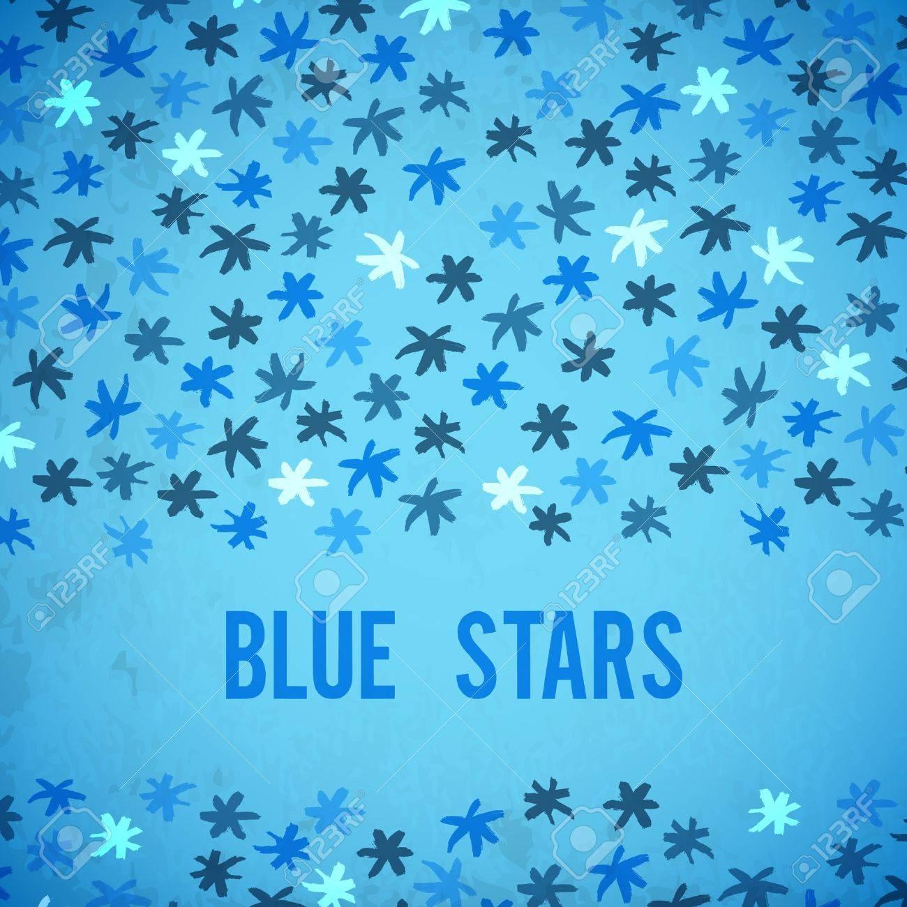 brushstrokes stars vector blue background Stock Vector - 18487192