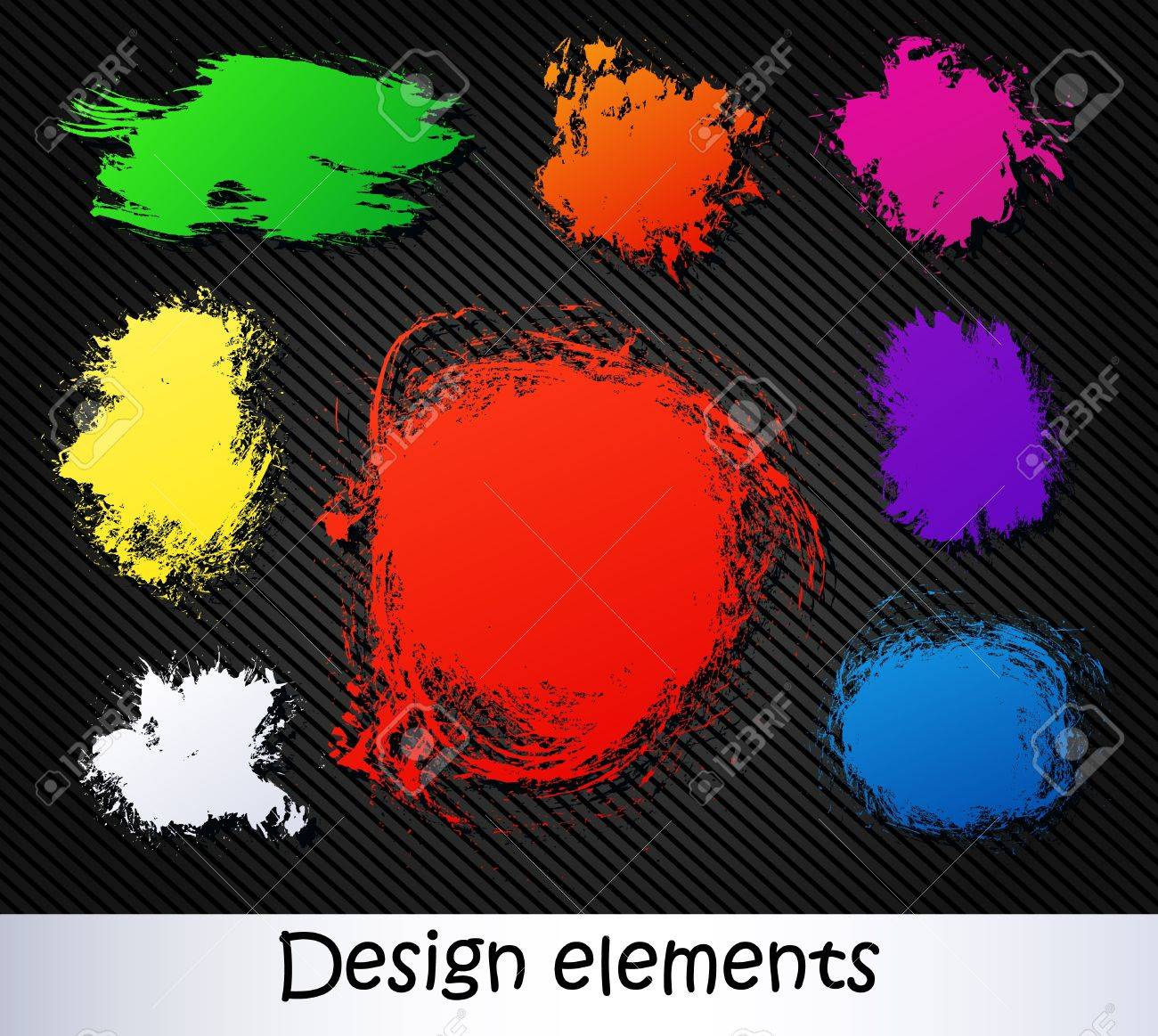 vector elements on a black background. brush stroke Stock Vector - 19286631