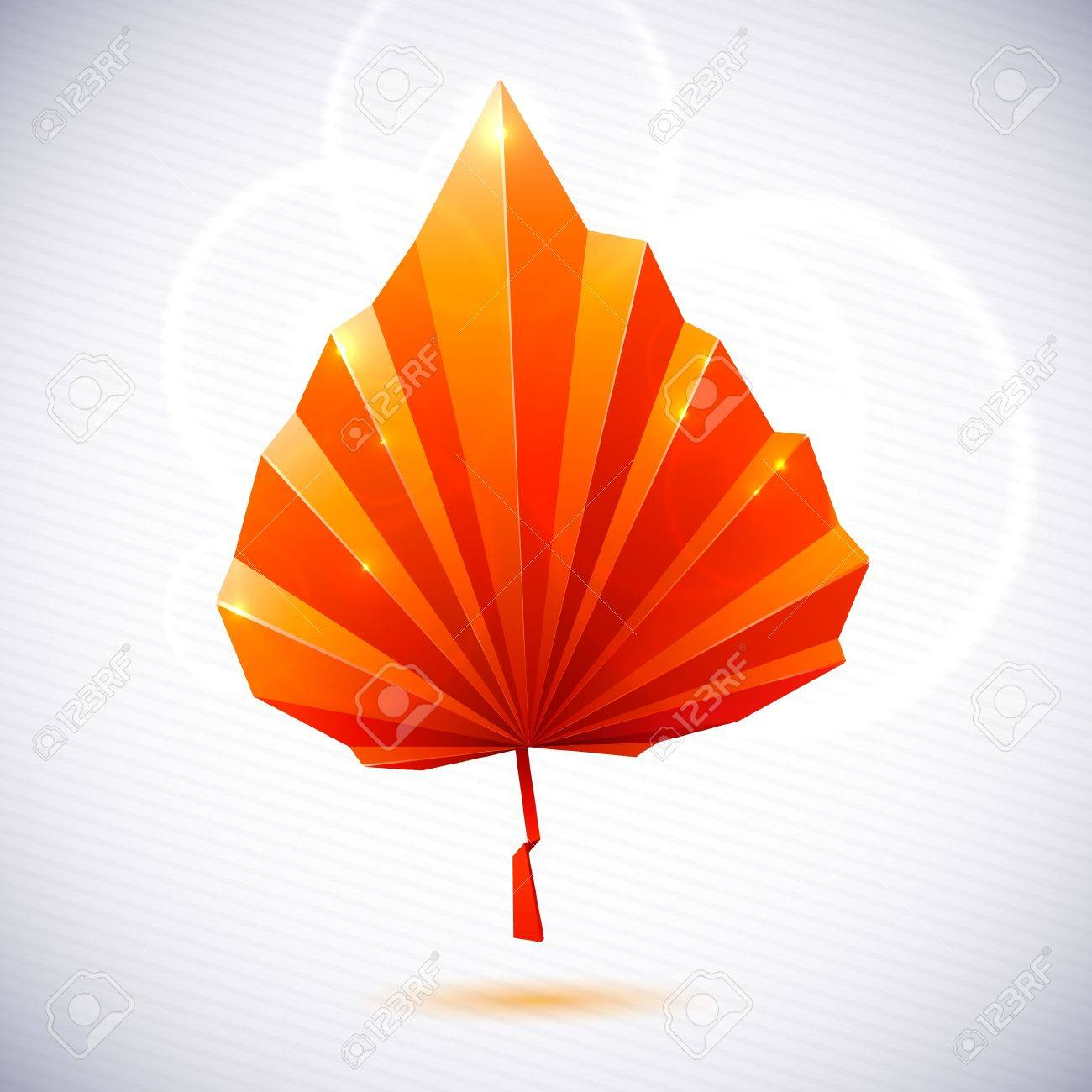 autumn leaf of a tree origami the folded colored paper on a