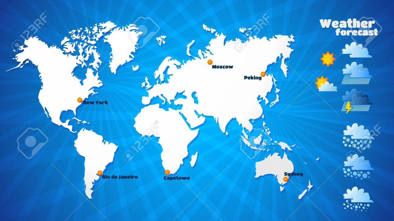 vector weather forecast vector illustration map of the continents of the earth aspect ratio illustration nine sixteen tv format