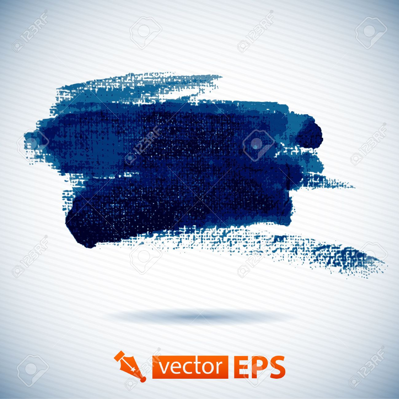 Vector watercolor ink spot  Blue wet brushstroke on canvas texture   Dry brush strokes   Abstract  omposition for design elements Stock Vector - 23103259