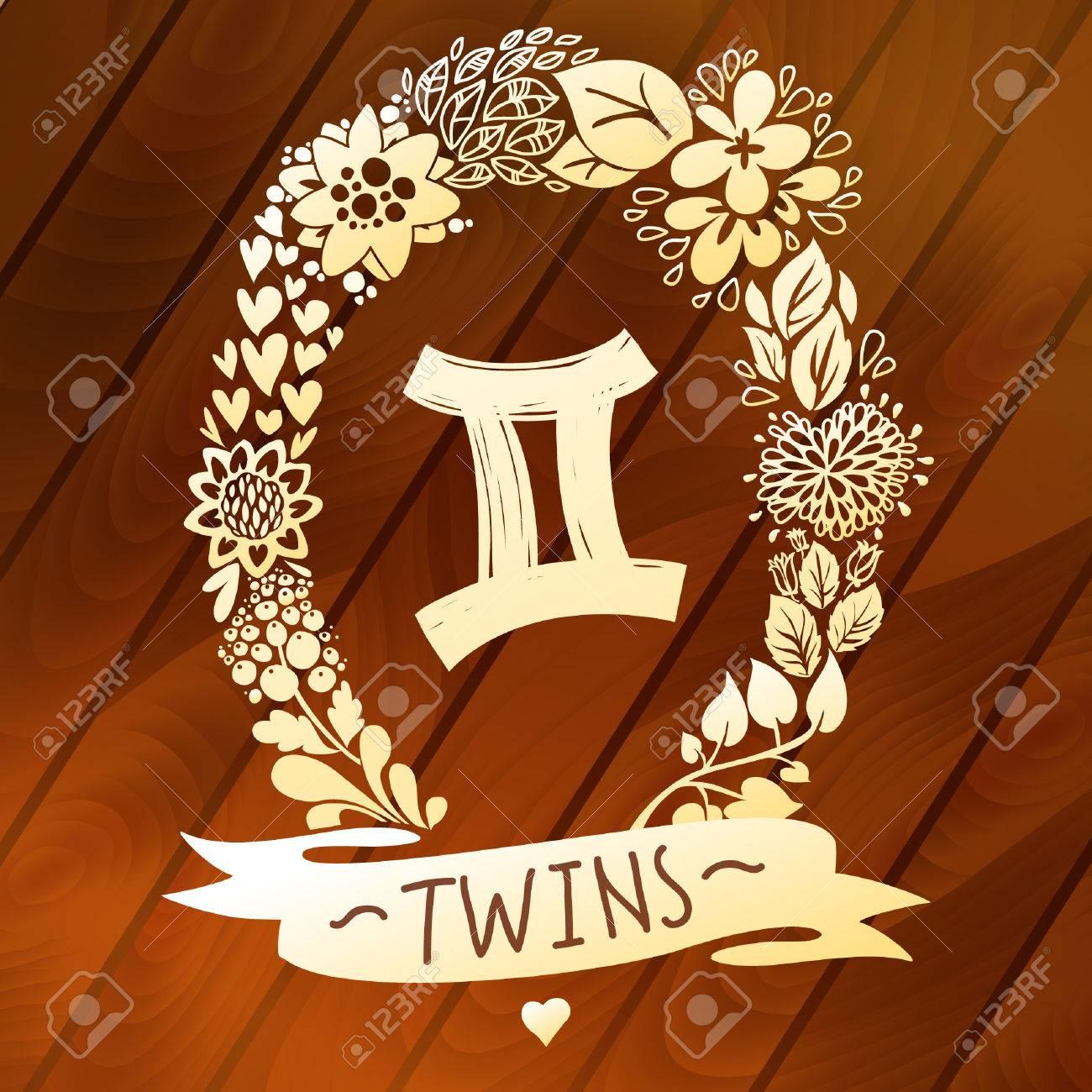 Zodiac sign gemini twins in a sweet gold floral wreath on zodiac sign gemini twins in a sweet gold floral wreath on vector wood planks horoscope buycottarizona