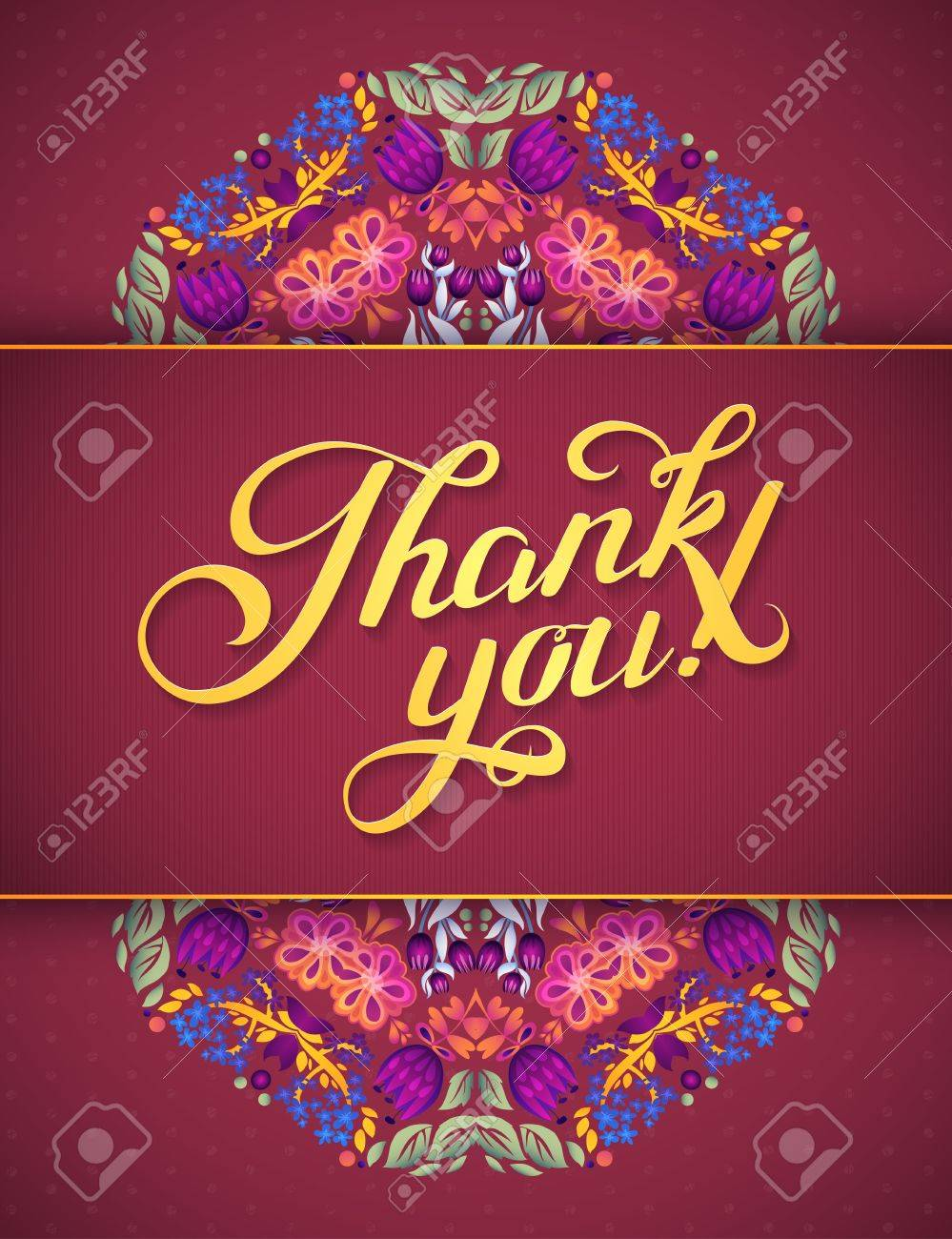 Thank You Card In Bright Colors. Stylish Floral Background With ...