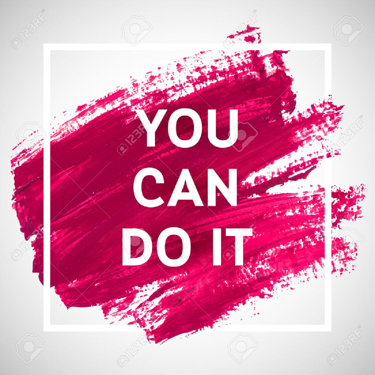 You Can Do It Motivation Square Acrylic Stroke Poster Text