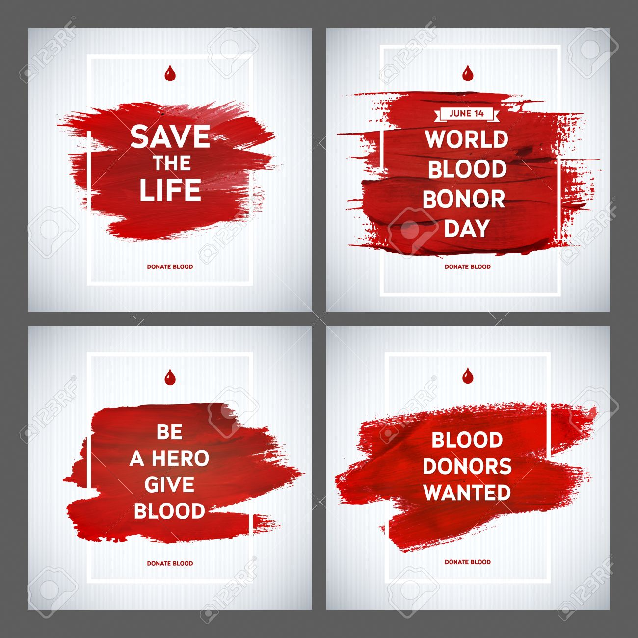 Poster design on blood donation - Creative Blood Donor Day Motivation Information Donor Poster Set Blood Donation World Blood Donor