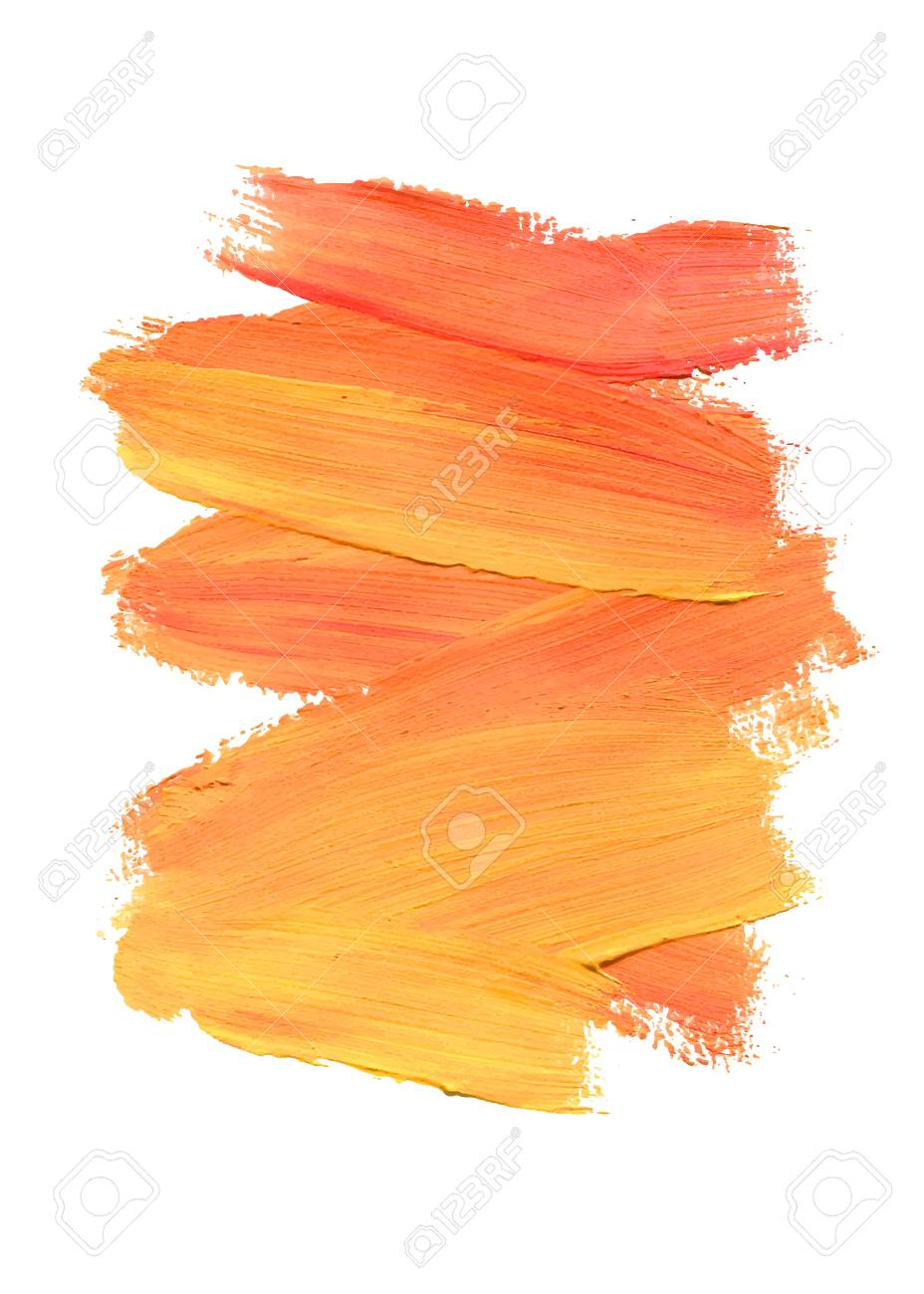 brush stroke acrylic paint stain peach color stroke of the