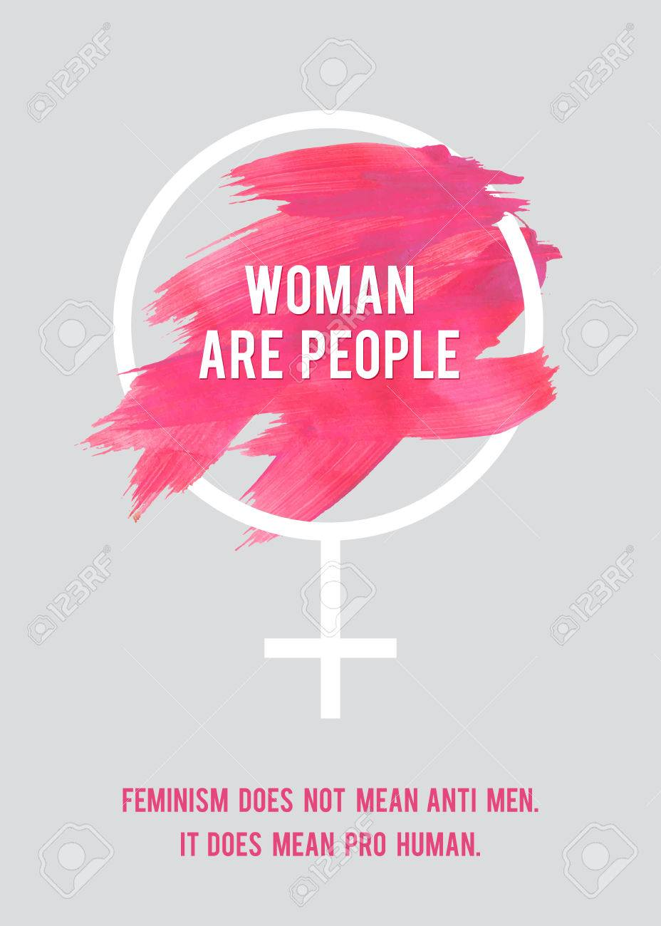 Stroke Poster Feminism Female Symbol With Text Womans Vector