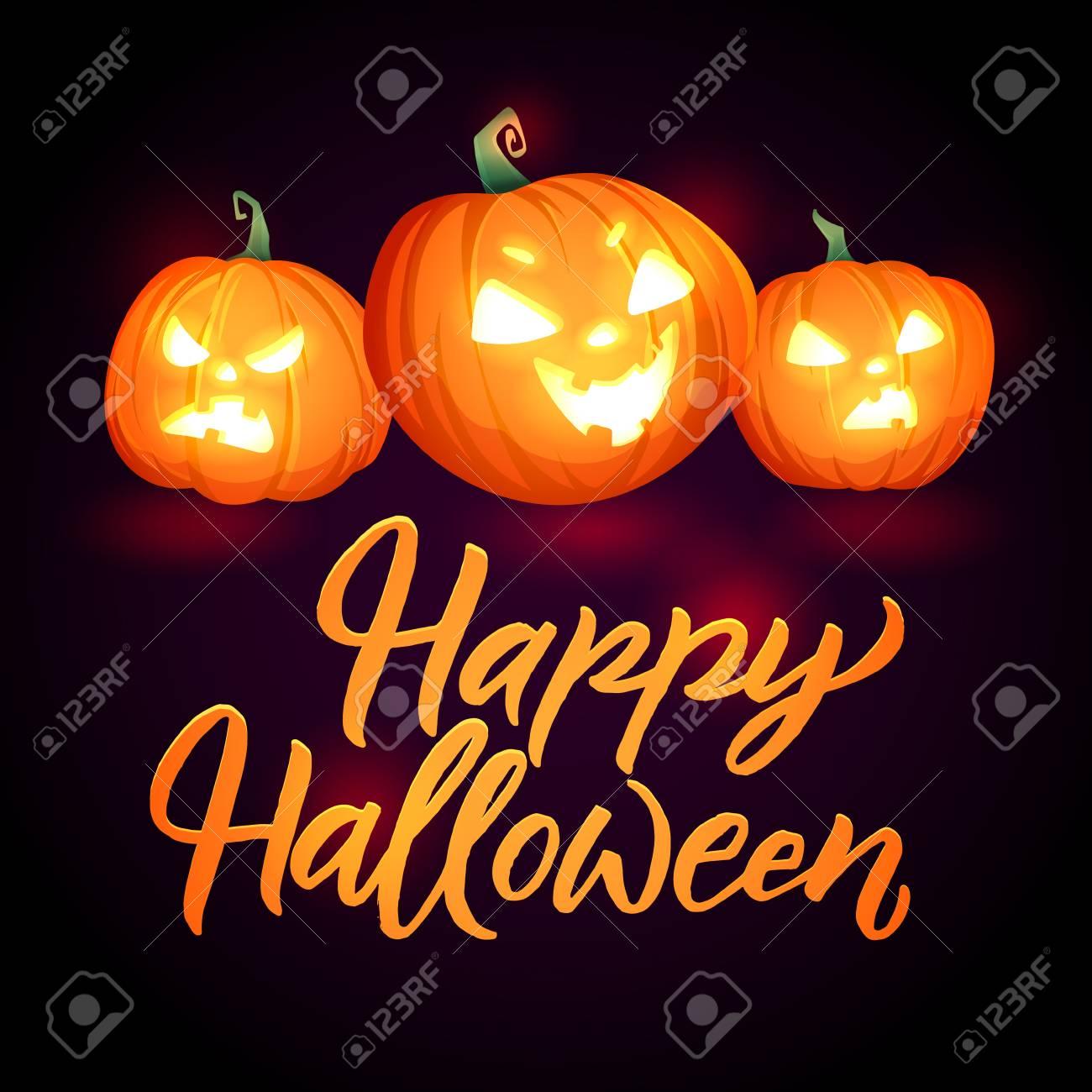 Halloween Pumpkins Vector Poster Glowing Pumpkins Greeting Royalty Free Cliparts Vectors And Stock Illustration Image 88316778