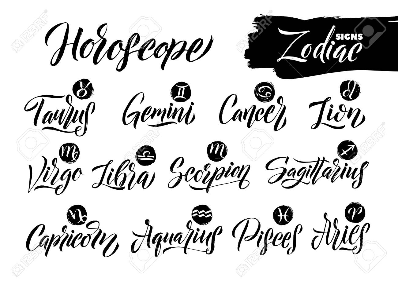 Calligraphy Zodiac Signs Set. Hand drawn horoscope astrology symbols, letterings grunge texture design, vector illustration white background. - 104604420