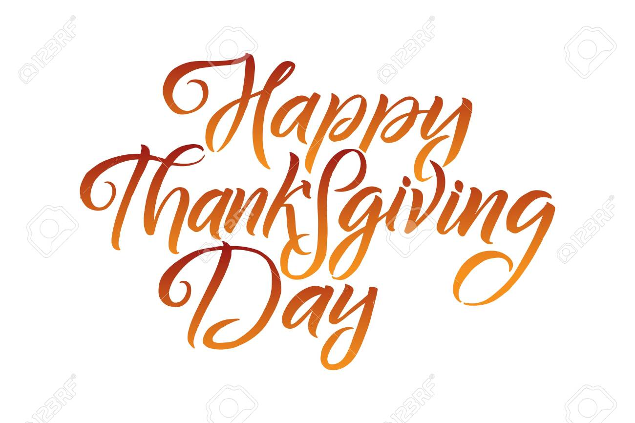 Vector illustration. Hand lettering modern brush pen text of Happy Thanksgiving Day isolated on white background. Handmade calligraphy. - 131894227