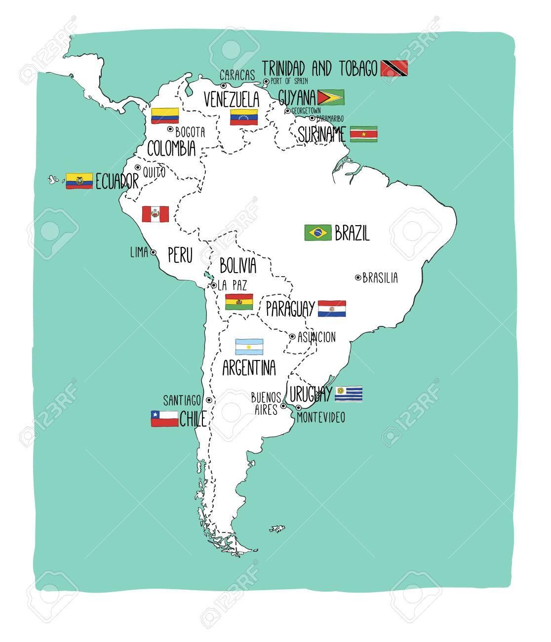 Une Carte De Lamerique Du Sud.Carte Vectorielle Dessine De Main De L Amerique Du Sud Avec Des Drapeaux Elements Differents Couches Parfait Pour L Infographie Comprend Le Bresil