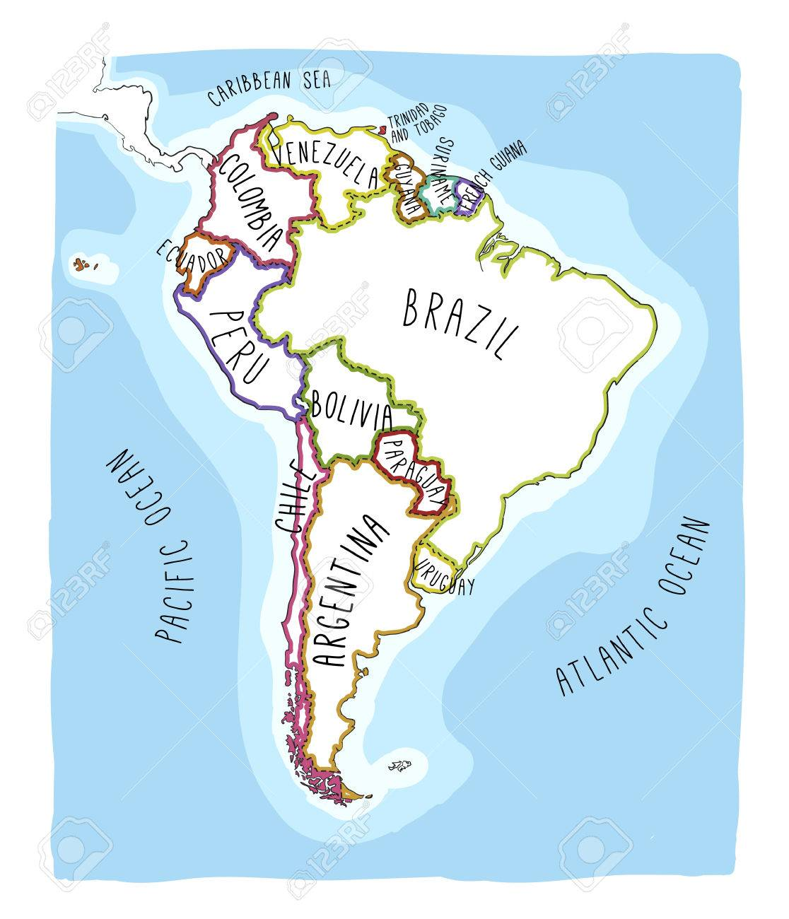 Carte Amerique Latine Uruguay.Carte Vectorielle Dessine A La Main De L Amerique Du Sud Texte