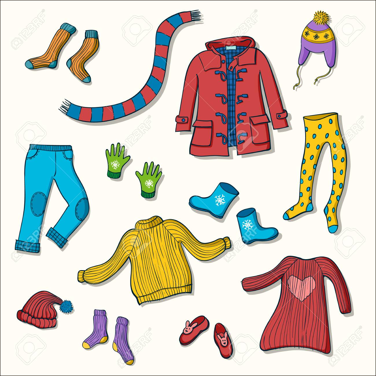 688ec797 Vector - Winter clothing set of vector illustrations. Collection of warm  clothes: jumper, coat, scarf, gloves and hats in colorful hand drawn style