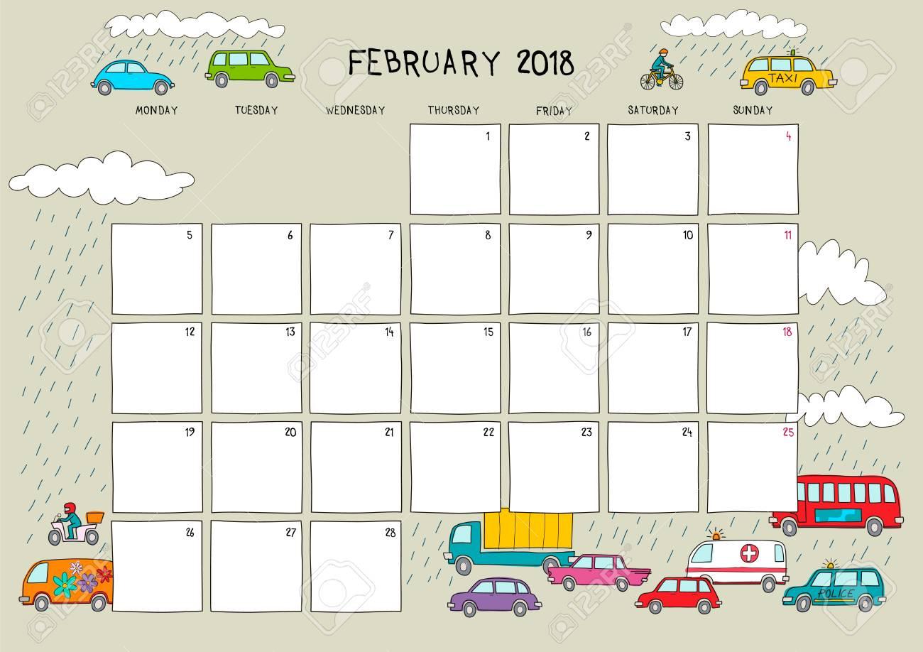 Cute Calendar February 2018 : Cute calendar and planner for february beige background