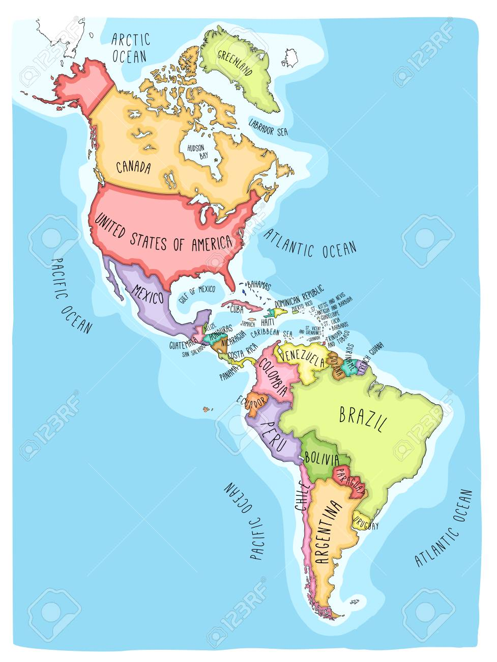 Hand drawn vector map of the Americas. Colorful cartoon style cartography of north and South America including United States, Canada, Mexico, Brazil, Argentina, Cuba, Colombia, Venezuela... - 92661569