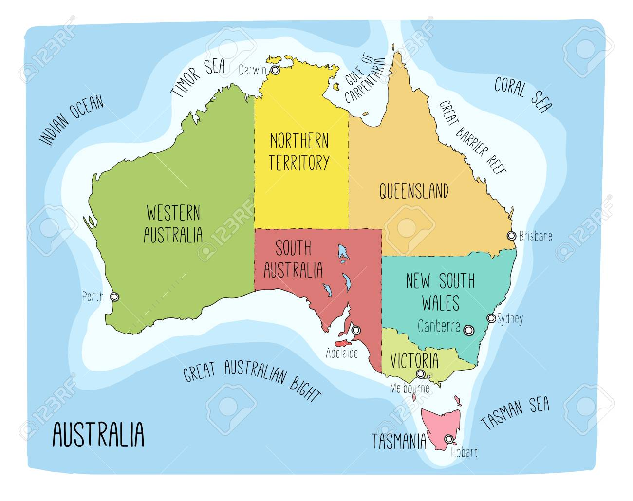 Map Of Australia With Capitals.Vector Map Of Australia Colorful Sketch Illustration With