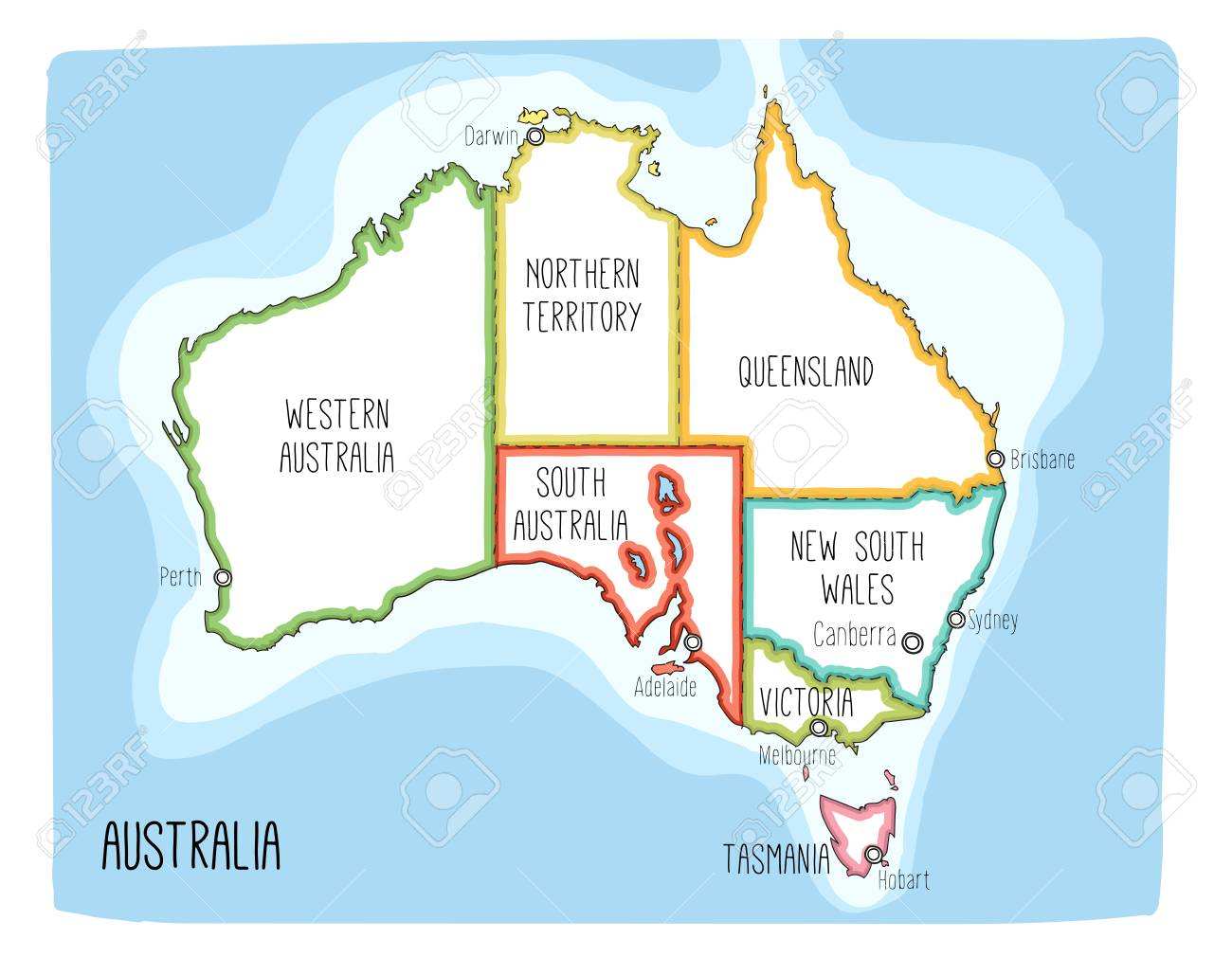Australia Map Capitals.Vector Map Of Australia Colorful Sketch Illustration With Territories