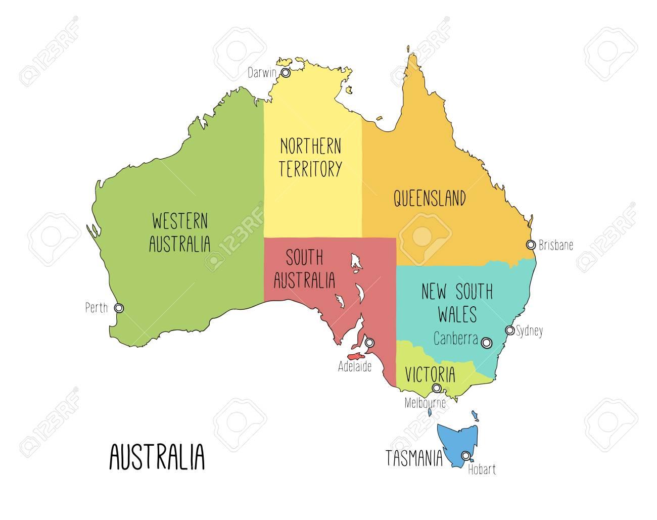 Australia Map Hobart.Vector Map Of Australia Sketch Illustration With Territories