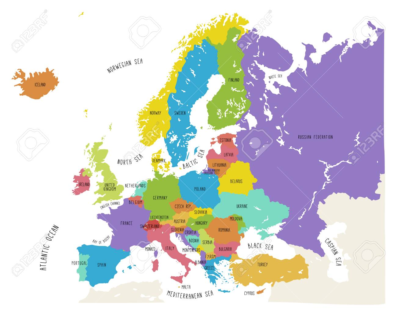 Colorful hand drawn vector map of Europe with countries names...