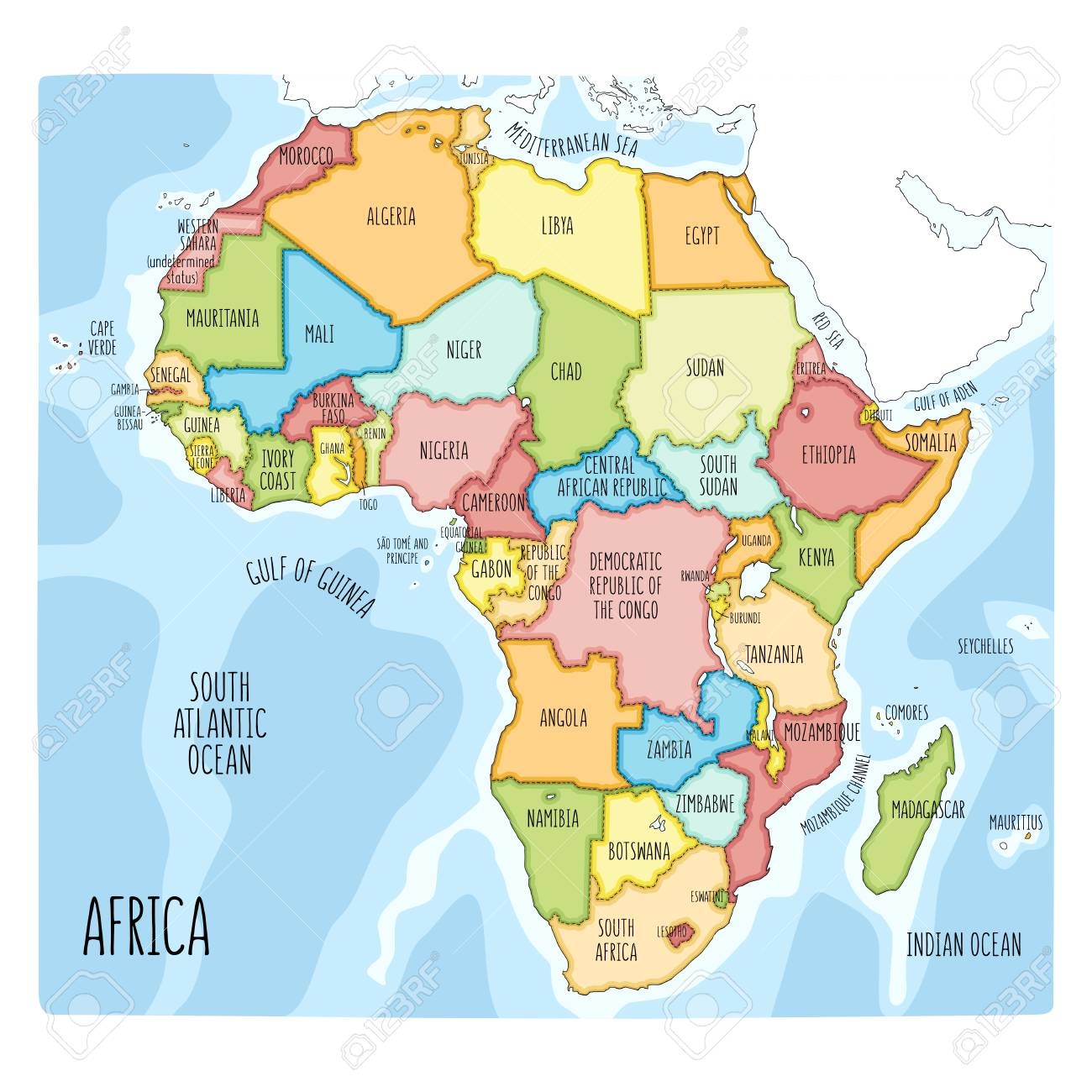 Vector political map of Africa. Colorful hand drawn illustration.. on map of earth illustration, map of egypt illustration, map of japan illustration, map of zambia illustration, map of united states illustration, map of ancient greece illustration, world map illustration, map of italy illustration,