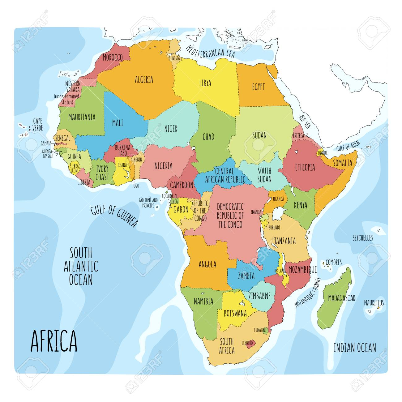 Vector Political Map Of Africa. Colorful Hand Drawn Illustration