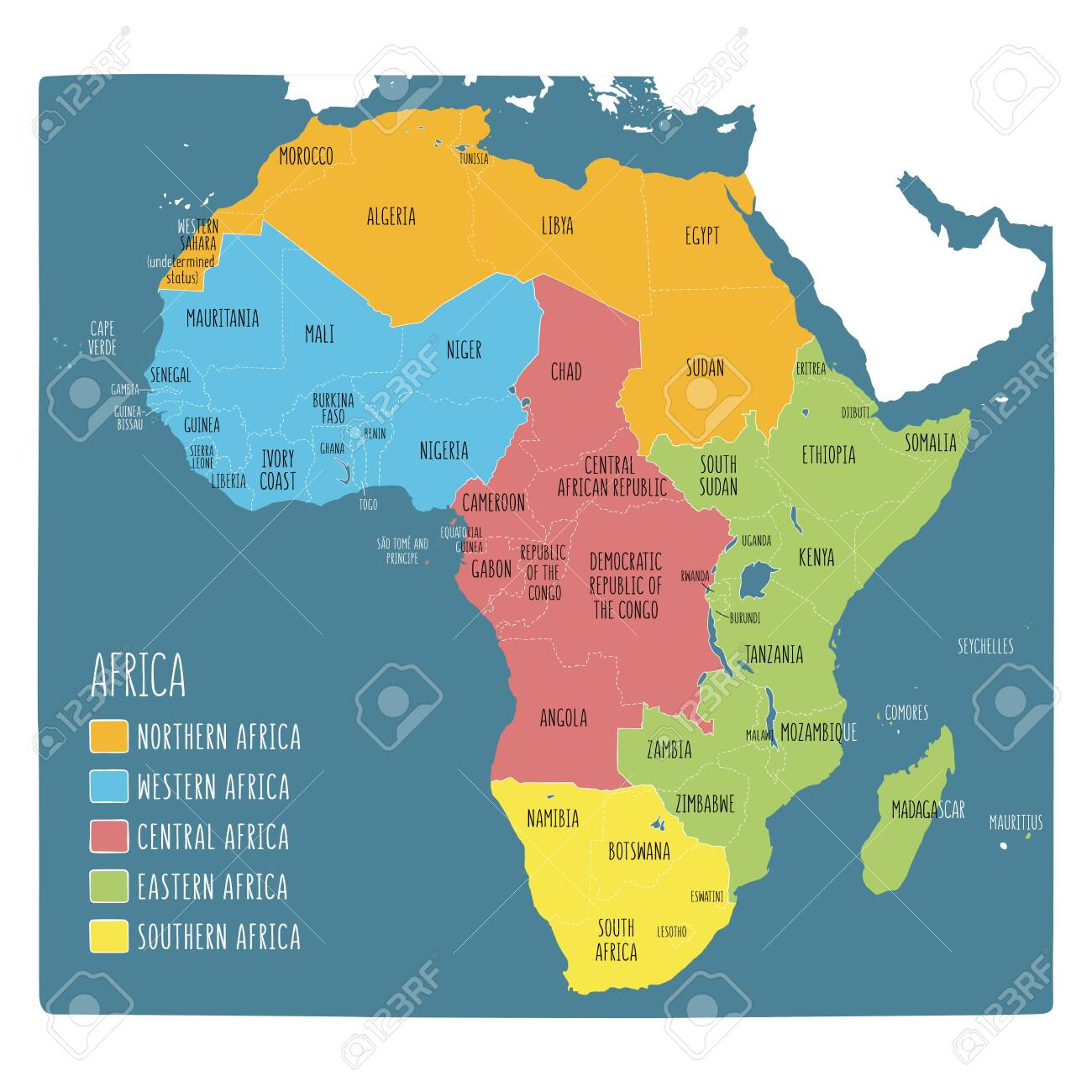 Regions Map Of Africa Vector Political Map Of Africa. 5 Regions Of Africa. Colorful