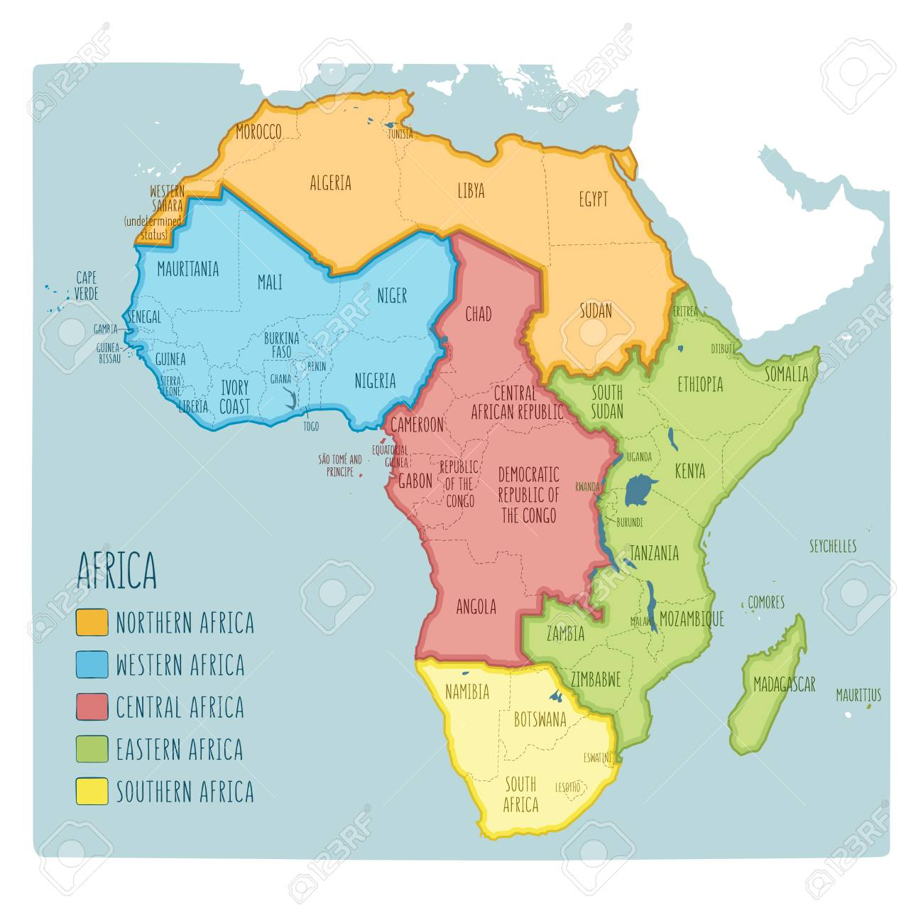 Map Of Africa Regions.Vector Political Map Of Africa 5 Regions Of Africa Colorful