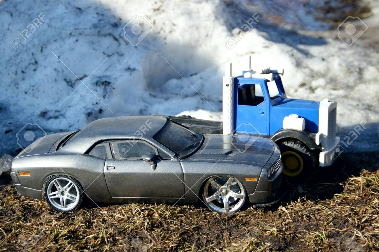 Toy Cars In Winter Macro Photography Stock Photo Picture And