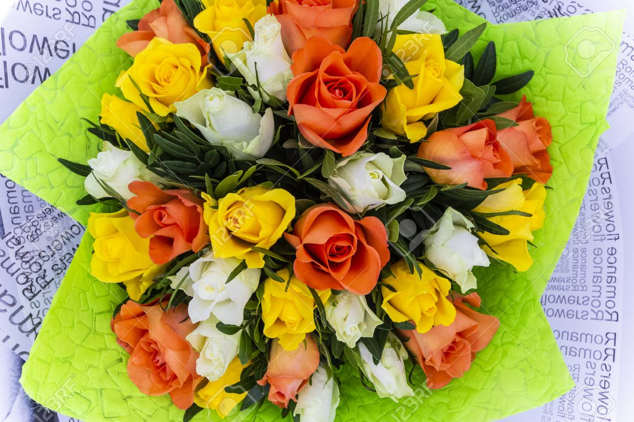 Flower Bouquet Of Fresh White Yellow And Orange Roses Top View