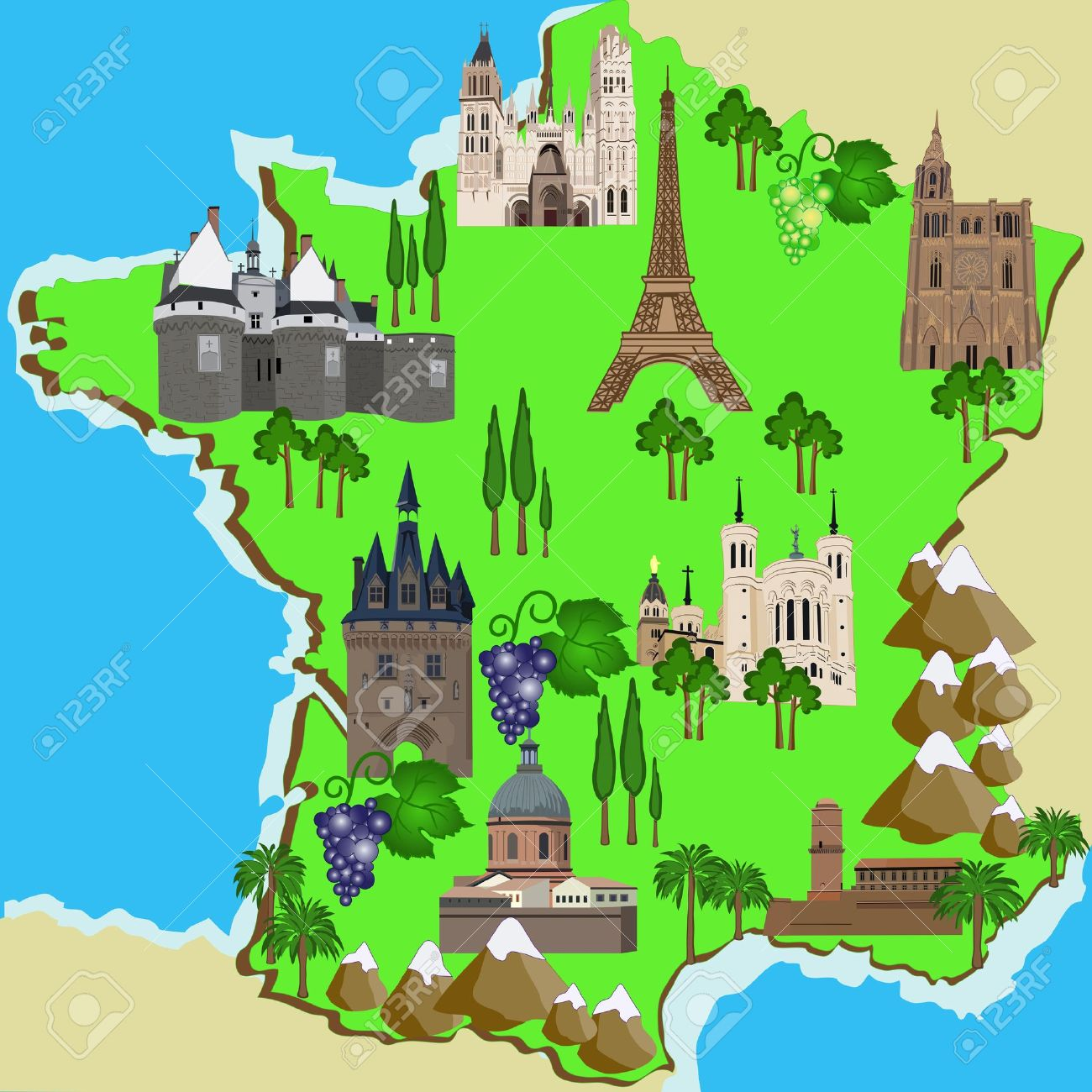 Mapa Turistico De Francia.Vector Mapa Turistico De Francia