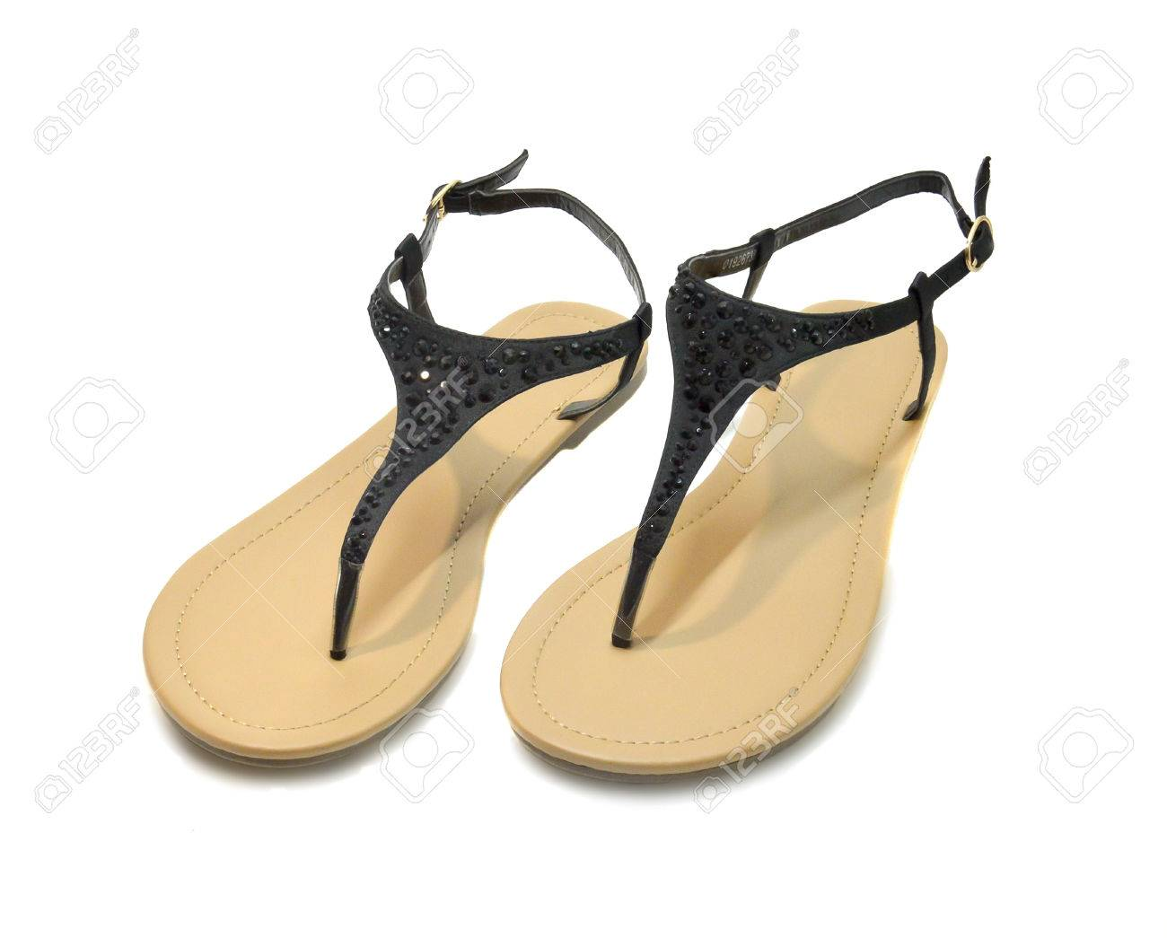 Sandals with rhinestones. Sandals black with rhinestones. Photo on a white  background Stock Photo