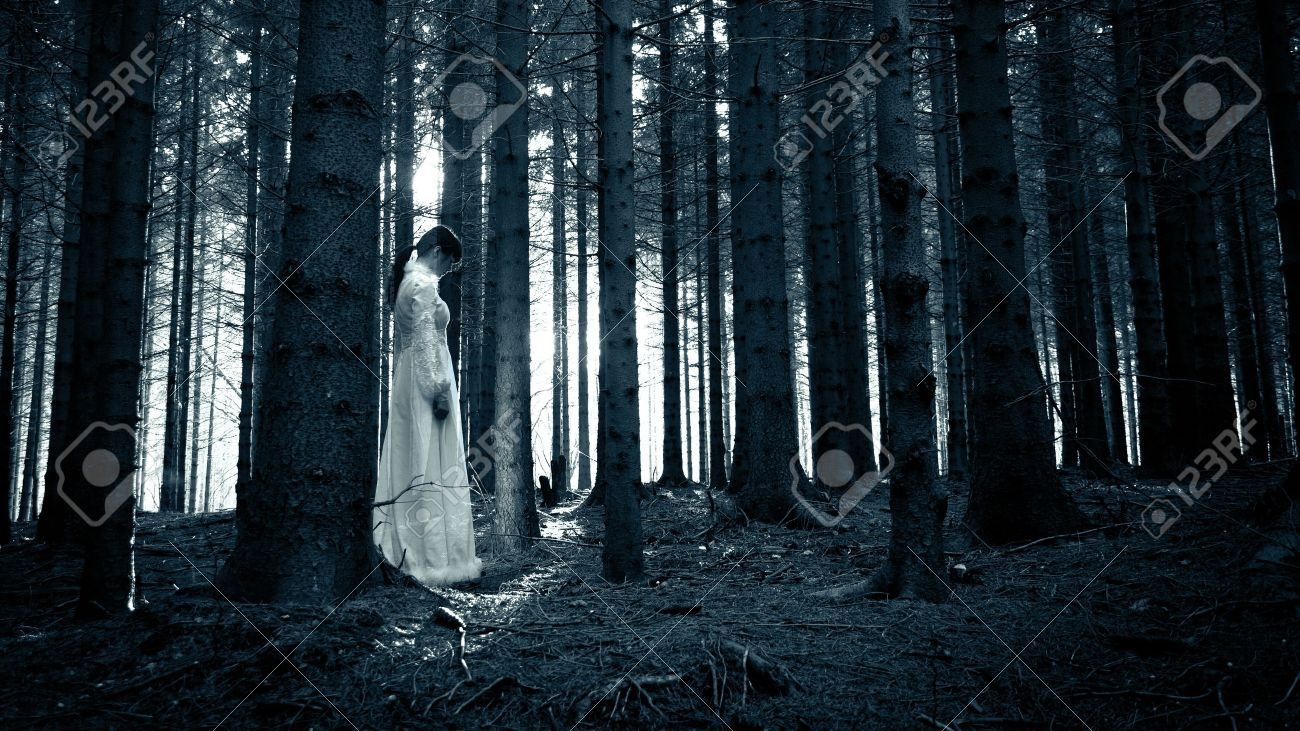 Woman with long black hair in white dress in the spooky dark forest Stock Photo - 17641960