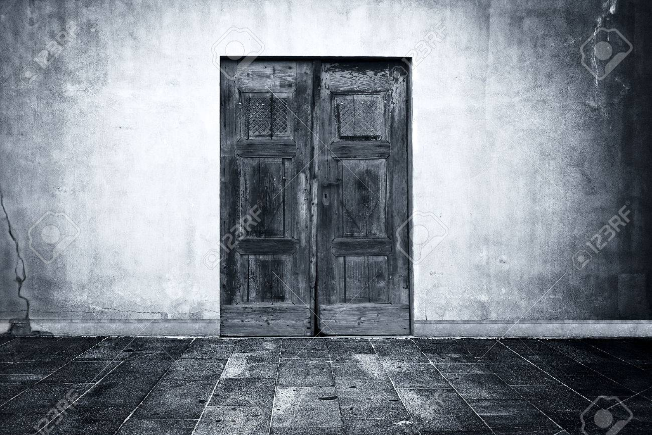 Wide Grunge Vintage Background With Old Door Empty Room Interior