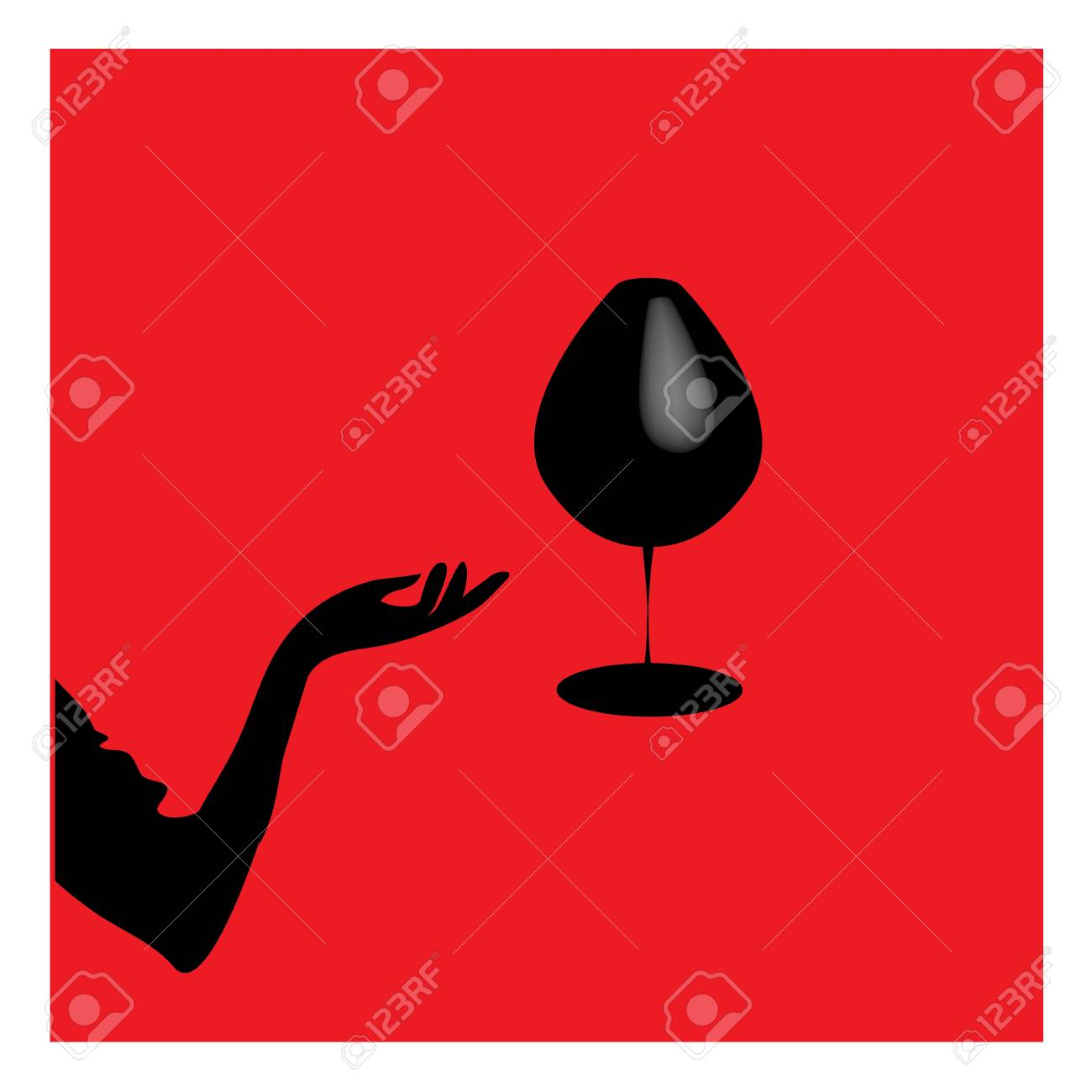 Abstraction WOMAN silhouette black and red glass Stock Vector - 16454661