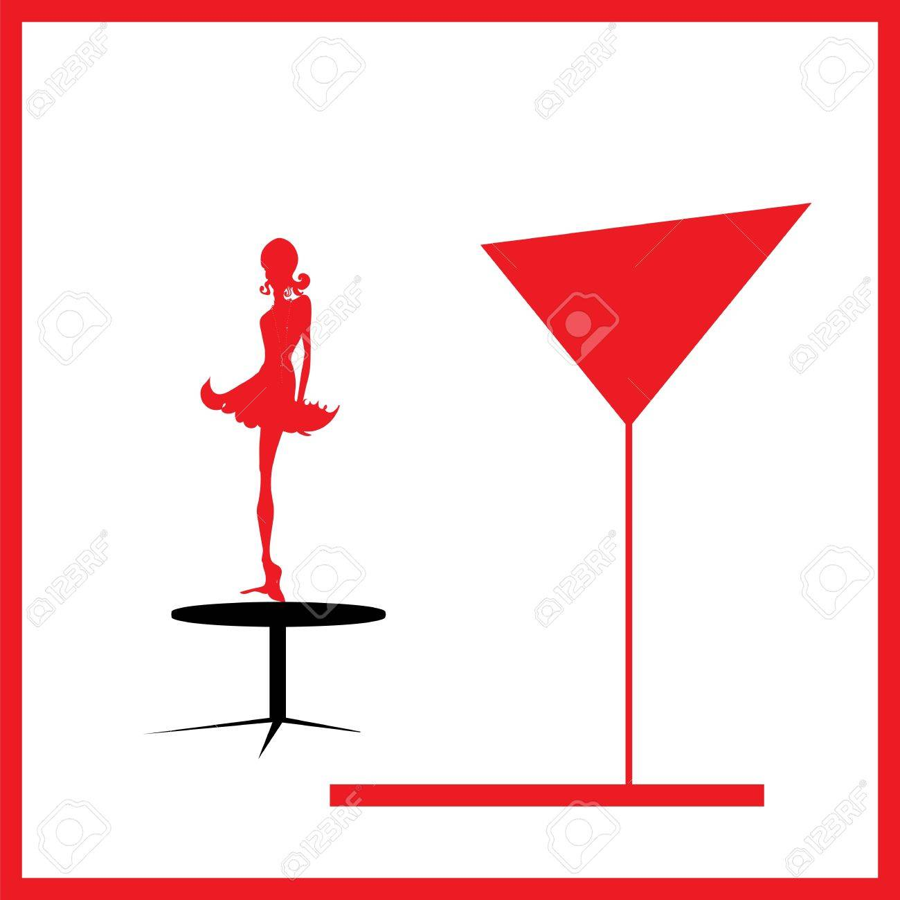 Abstraction WOMAN silhouette black and red glass Stock Vector - 16675680