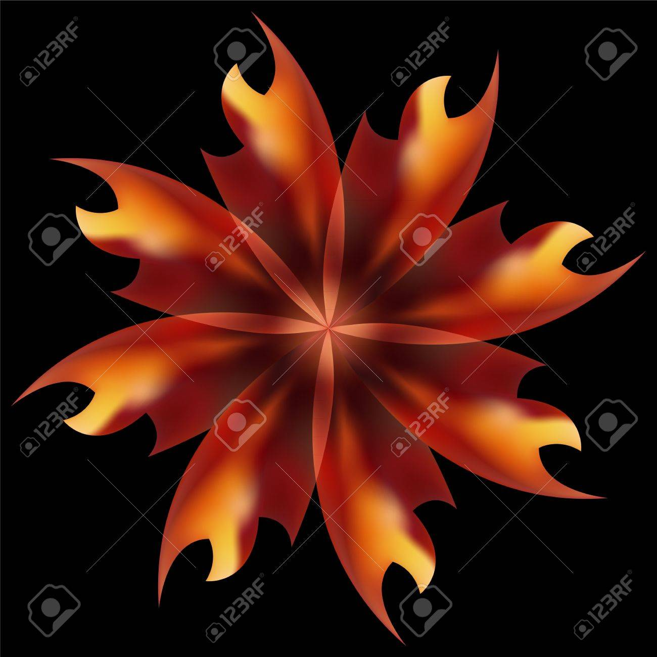Rose petal Fire flaming flower on black background Stock Vector - 17695859
