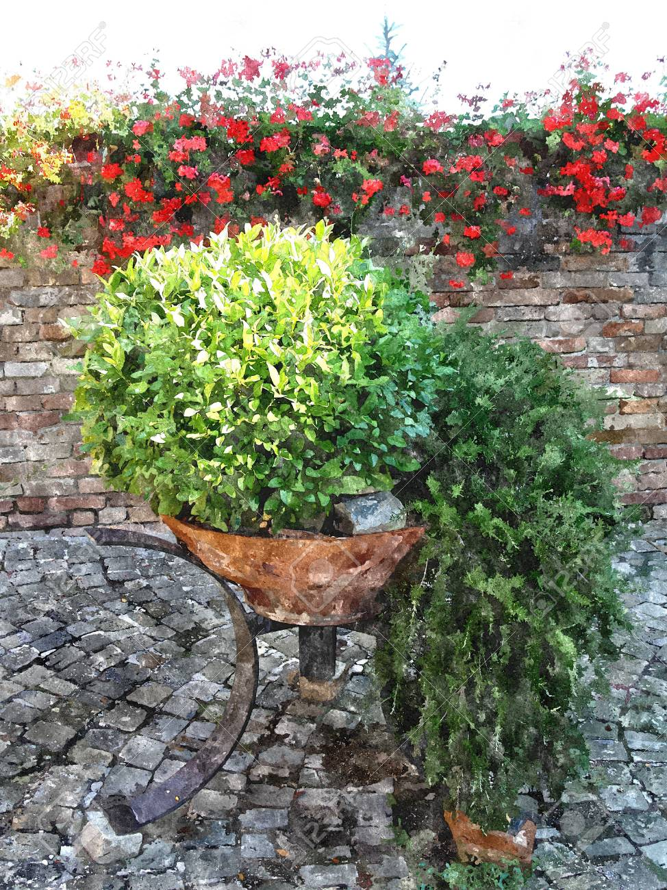 Design Italian Courtyards Around The House. The Effect Of