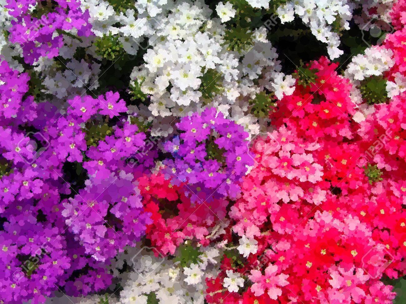 foto de archivo inicio diversas flores en macetas disear patios italianos alrededor de la casa el efecto de la pintura al leo