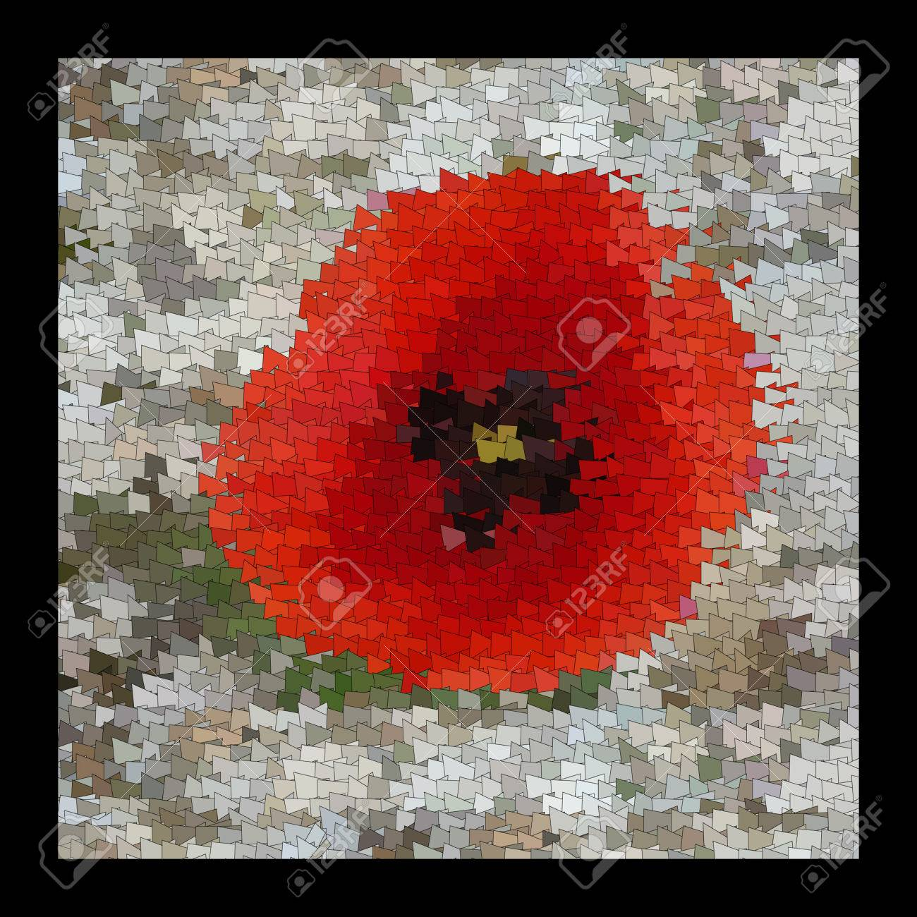 The Flowers Of Red Poppy Closeup On Grey Background Art Quilt And Mozaic Color