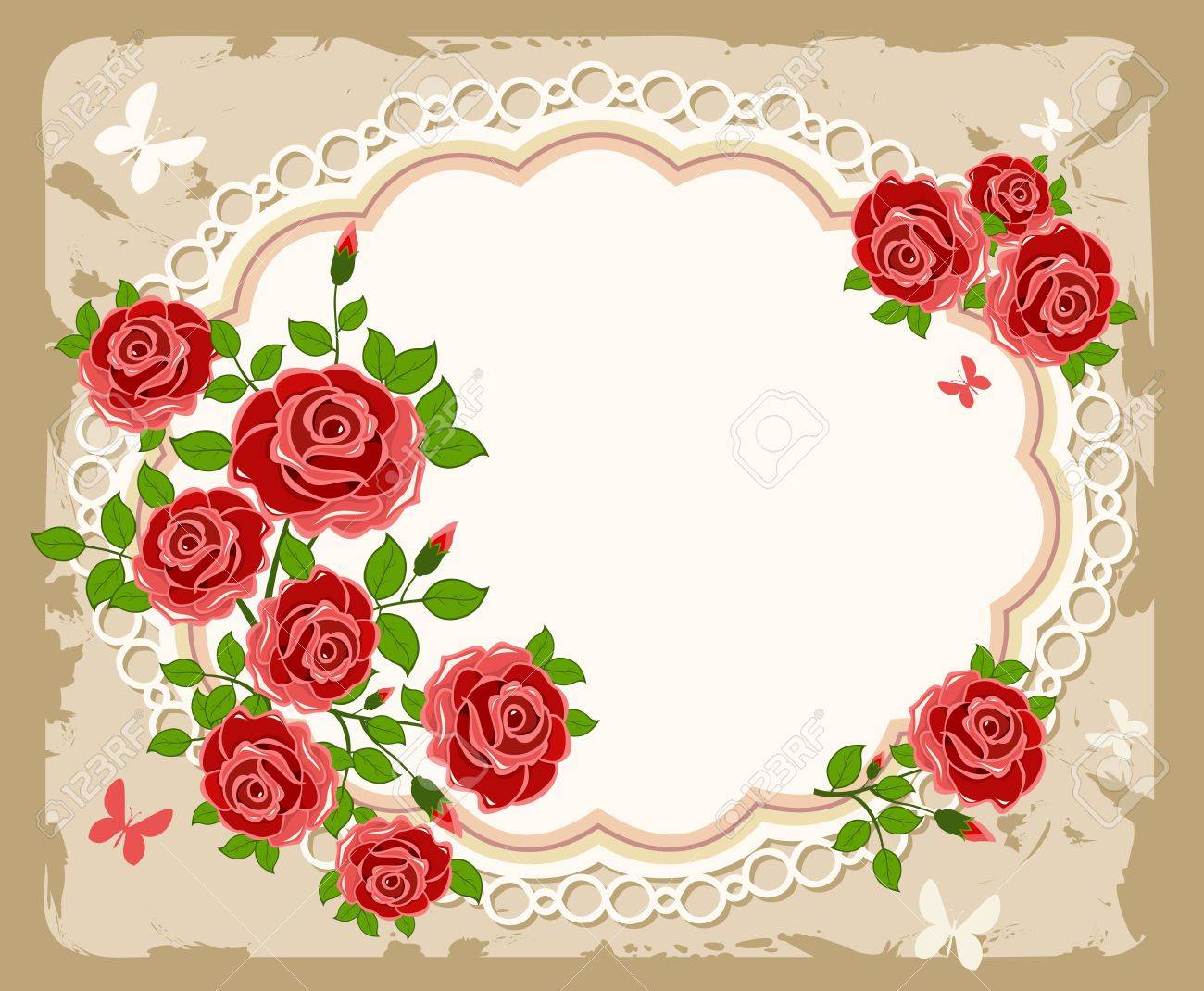 Floral Frame Perfect For Wedding Invitations. Background With ...