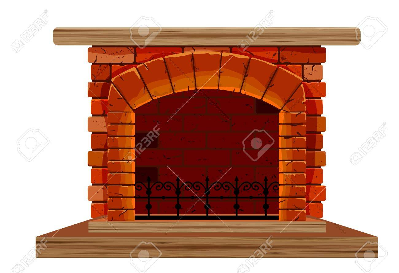 The Old Brick Fireplace On A White Background Royalty Free Cliparts