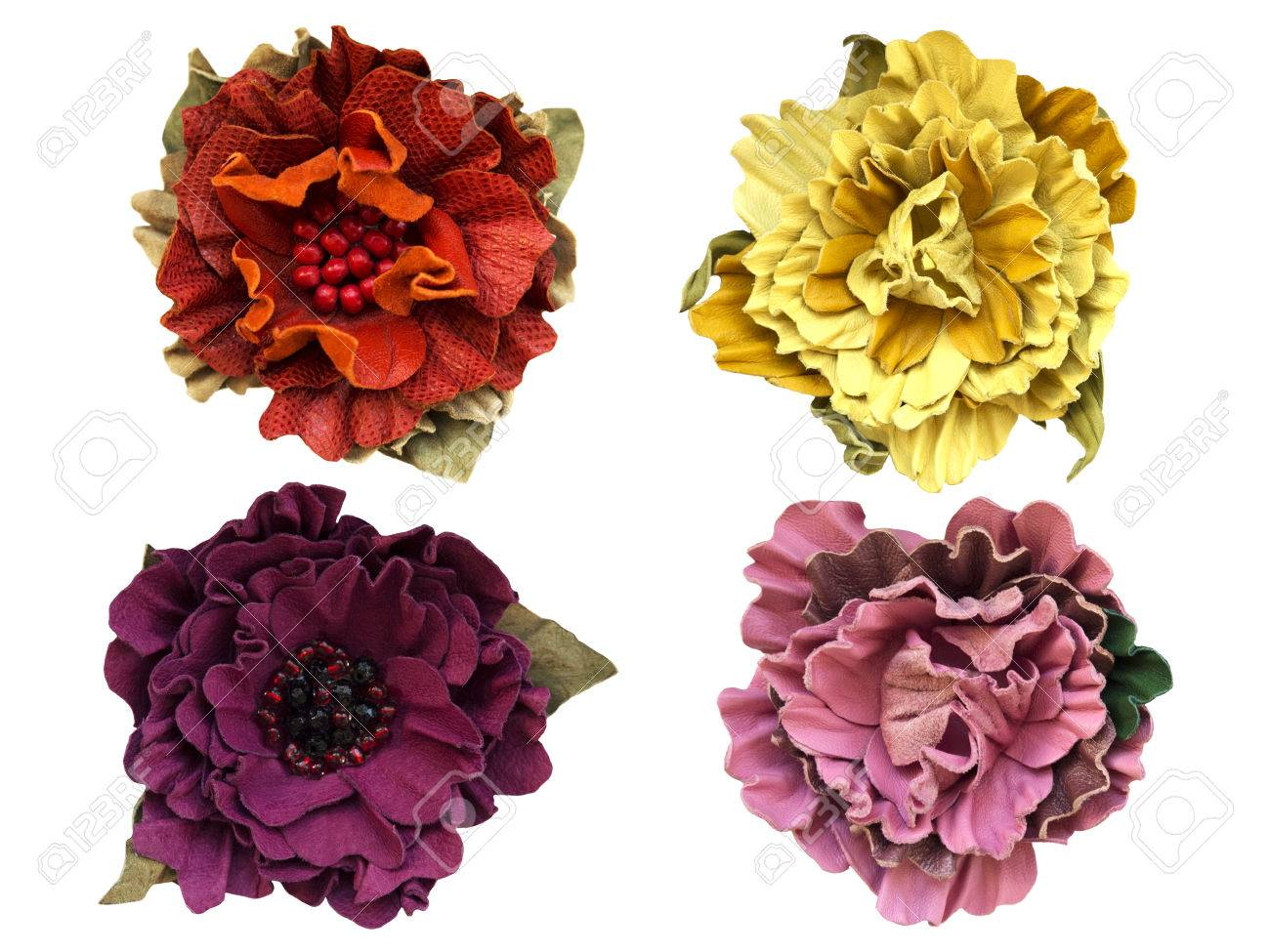 Leather Flowers Isolated On White Stock Photo Picture And Royalty
