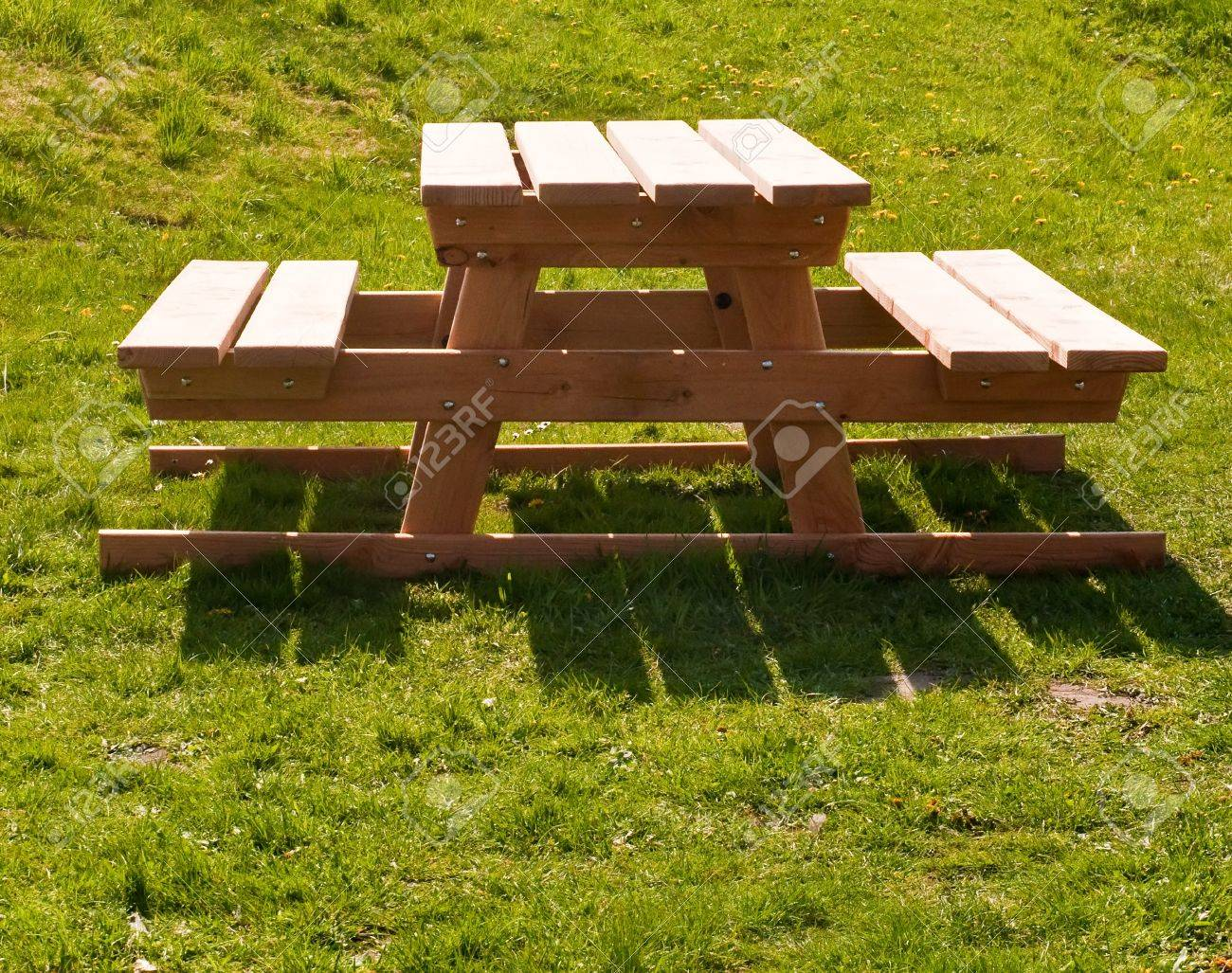 Picnic Table Outside On A Grass Field . Stock Photo   9563545