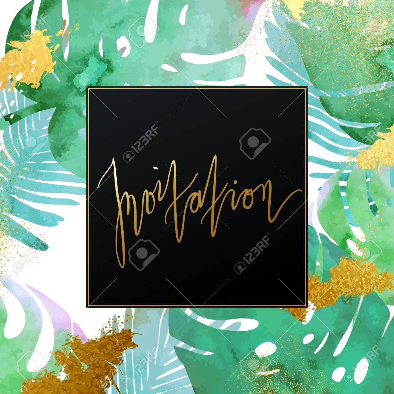 Trendy tropical jungle style vector invitation template paint trendy tropical jungle style vector invitation template paint textured palm tree leaves botanic backdrop stopboris Images