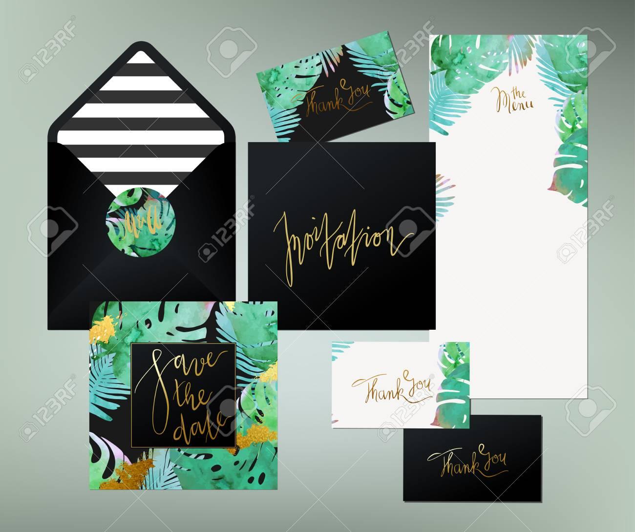 Trendy tropical jungle style vector wedding print set invitation trendy tropical jungle style vector wedding print set invitation cards menu and envelope vector stopboris Images